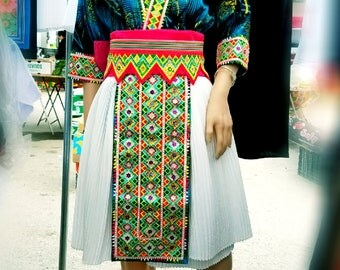 Beautiful hand-stiched glitter Hmong outfit