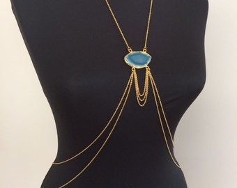 Gold Body Chain / Gold Body Jewelry / Gold Plated Body Chain with Gemstone Detail / BDC1043-02