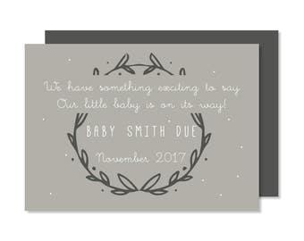 Printable Pregnancy Announcement Card, New Baby Reveal, Digital Custom DIY