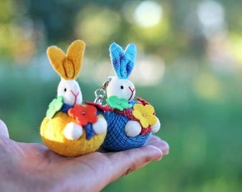 Bunny, Bunny keychain, Animal keychains, Stuffed bunny, Bunny plush, Toy, gift