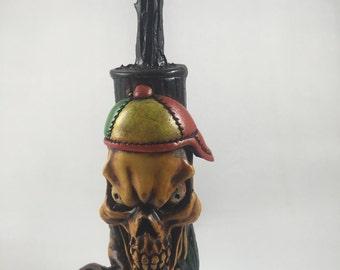 Tobacco Hand Made Pipe, Rasta Skull Cap Design