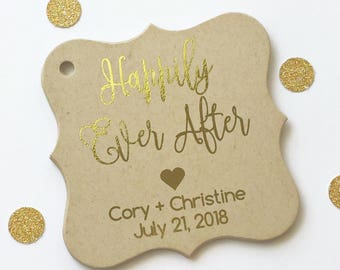 Happily Ever After Foiled Kraft Wedding Favor Tags, Wedding Favor Tags, Custom Wedding Favor Tags, Fairytale Wedding, Heart (FS-137-FKR)