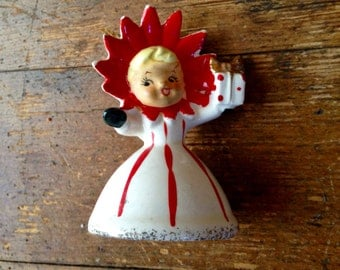 1950's Holt Howard Poinsettia Girl, Bone China Christmas Figure and Bell Ornament. Made in Japan. Holt Howard Ceramics