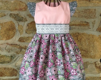 Girls dress, baby dress, special occasion dress, daisy dress, boutique dress, pink daisy dress, toddler dress, Spring, Summer