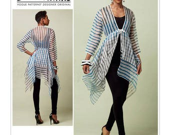 Vogue Pattern V1551 Misses' Tie-Front Cover-up with Peplum-Style Tiers