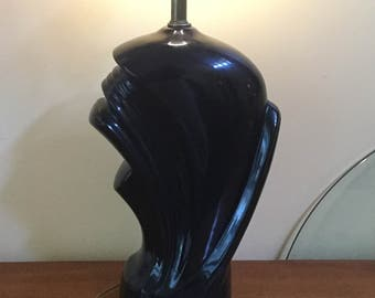 90's Black Art Deco Style Ceramic Lamp~ Glam Design