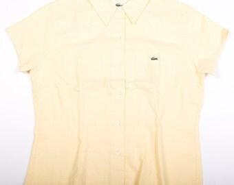 Vintage Lacoste Alligator Button Up Lemon Yellow Shirt