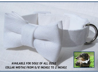 Wedding Dog Collar~White Linen Bow Tie Collar~Wedding Dog Attire~Removable Bow Tie~White Side Release Buckle~Optional Matching Linen Leash~~