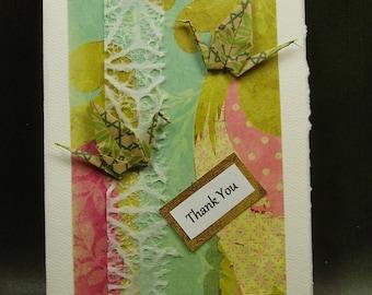 Thank You Card/ Origami Cranes Card/ Love Cranes Card/ Hand Made Card/ Art Card