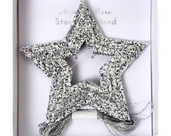Silver Glitter Stars Mini Garland