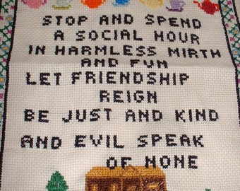 FRIEND'S Welcome Finished Completed Counted Cross Stitch Motto SAMPLER 10 x 13 Vintage