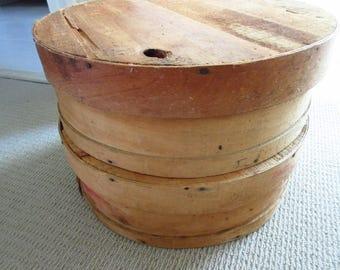 Vintage Round Wooden Chees Box Cheese Round Cheese Wheel Round Storage Box