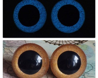 20mm Glow In The Dark Safety Eyes, Golden Brown Glitter Safety Eyes With Blue Glow, 1 Pair Of Plastic Safety Eyes