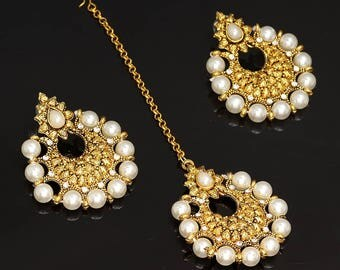 Gold Plated White Rhinestone Tikka Headpiece Earring Set/Wedding Bridal set