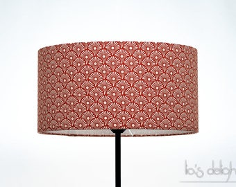 "Red drum lampshade ""Red Blowballs"""