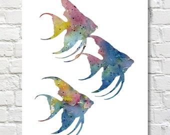 Angelfish Art Print - Abstract Tropical Fish Watercolor Painting - Wall Decor
