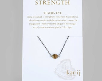 Simple Single Stone Tigers Eye Necklace // Everyday Dainty Brass Gold Necklace // Gift for Her // Healing Stone Necklace
