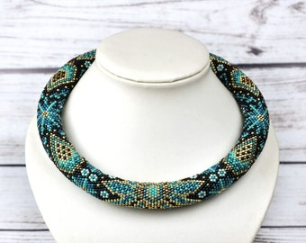 Turquoise necklace bib necklace for women anniversary gift for mom beaded jewelry birthday gift for wife mothers day gift Seed beads jewelry