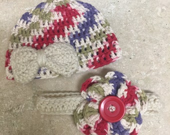 Infant multicolored beanie with bow and flower button headband