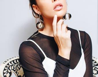 Nickel Statement Earrings, Geometric Statement Earrings, Maxi Earrings