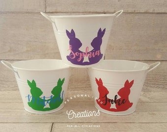 Personalised Easter Bucket ~WHITE
