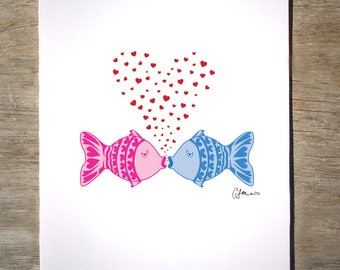 Kissing Fish - Love Card (#7V)