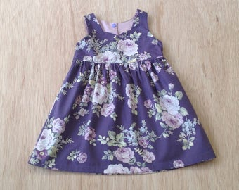 Baby tea party dress,  size 12-18 months, purple floral cotton fabric, baby party dress size 1, baby girls purple dress, baby summer dress