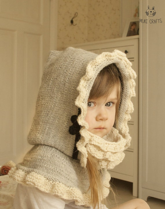 KNITTING PATTERN hoodie with ruffles and inner cowl Marta (baby, toddler, chi...