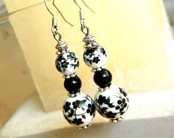 "Earrings""Geisha""  porcelain earrings white and black flowers"