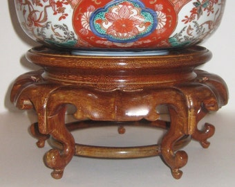 Antique Mahogany Asian Wood Riser With Scroll Feet