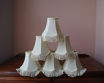 6 small  chandelier lamp shades, clip on lamp shades, white color.