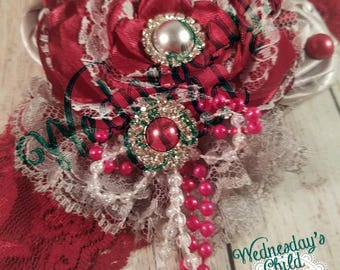 Burgundy and Silver handmade flowers lace headband