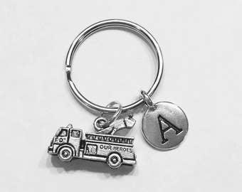 Fire Engine Keychain, Initial Keychain, Firefighter Keychain, Firefighter Wife Son Daughter Sister Gift Initial Keychain