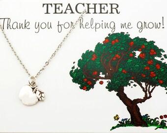 Teachers Gift- Teachers Necklace - Thank you teacher - Gift for a teacher - Educator Gift - Gift for educator  Apple Necklace  apple pendant