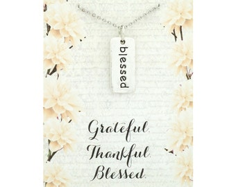 Grateful thankful blessed jewelry - blessed necklace - blessed pendant - blessed jewelry - he fills my life with good things - i am blessed