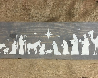 Nativity scene, christmas decor, nativity, wooden nativity