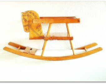 Vintage wooden rocking horse gift toys animals rock baby