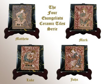 Christian art - Christian icons on tile - The Four Evangelists - Religious icons handmade in Italy - christian collectible - 4 Evangelists