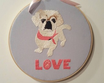 Pet portrait handmade embroidery fiber arts hoopart hoop art