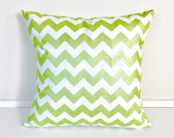 Metallic Green and White Chevron Printed Cushion Cover