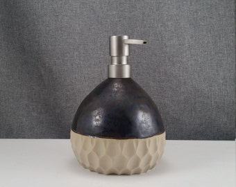IN STOCK*  Pottery Ceramic Soap Dispenser Handmade Pottery Lotion Dispenser Pottery for Kitchen and Bath - Metal Amber