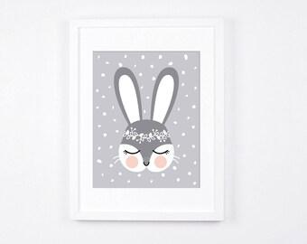 Bunny Nursery Art Print, Woodland Crown Bunny Printable Art, Grey and White Nursery Decor, Digital Nursery Art, Scandinavian Modern Neutral