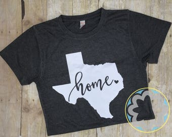 State of Texas 'Home' T-shirt, Charcoal colored top, Ladies Shirt - Birthday Gift, Bridesmaid Gift