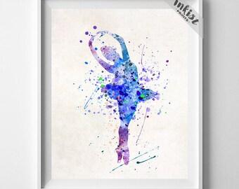 Ballerina Art, Gift For Her, Birthday Present, Watercolor Art, Nursery Poster, Nursery Decor, Children Room Art, Type 1, 4th of July