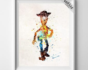 Toy Story Art, Woody Print, Toy Story Decor, Disney Poster, Watercoluor Art, Gift For Him, Pixar Print, Nursery Room, Type 2, July 4th