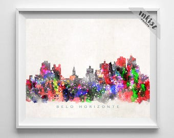 Belo Horizonte Skyline Print, Brazil, Belo Horizonte Poster, Brazil Cityscape, Watercolor Art, Wall Decor, Giclee Art, Christmas Gift