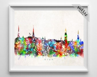 Riga Skyline Print, Latvia Art, City Poster, Watercolor Painting, Wall Art, Cityscape, Home Decor, Living Room Decor, Dorm Decor