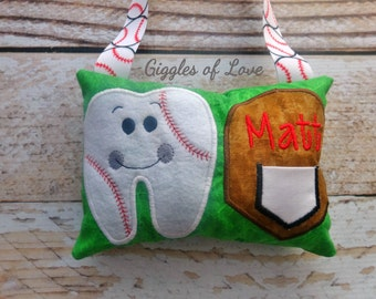 Personalized Tooth Fairy Pillow - Boy Girl Tooth Pillow - Baseball Player Sports