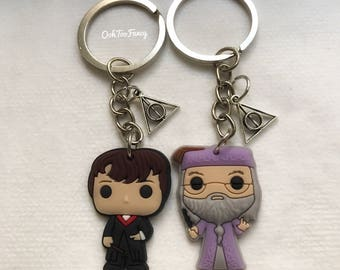 Harry Potter Keychain, Harry Potter, Harry Potter gift, Dumbledore keychain, Dumbledore gift