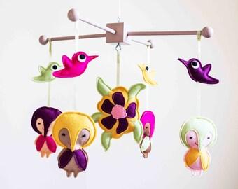 Hummingbird Girl Mobile / Superhero mobile / Baby Hummingbirds / Felt flowers / crib mobile / decorative mobile / Tropical flower mobile